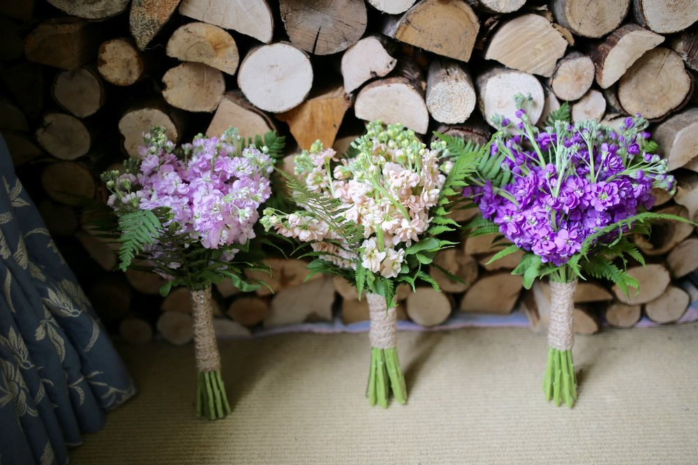 Bridesmaids' bouquets with stock flowers