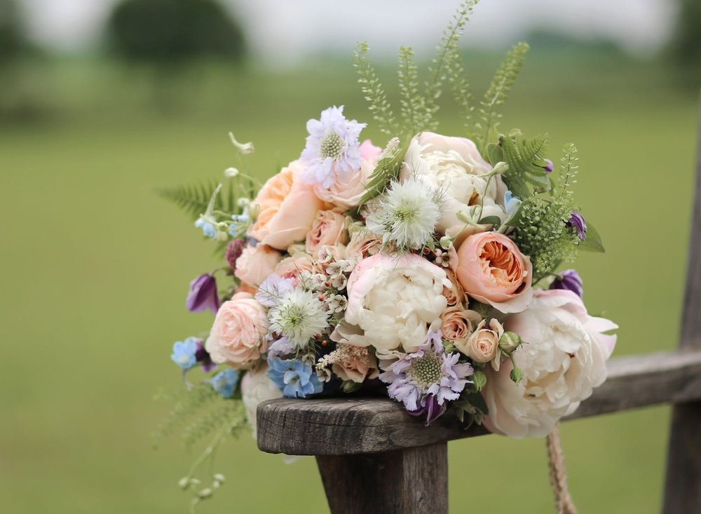 Summer bridal bouquet in soft, pastel shades