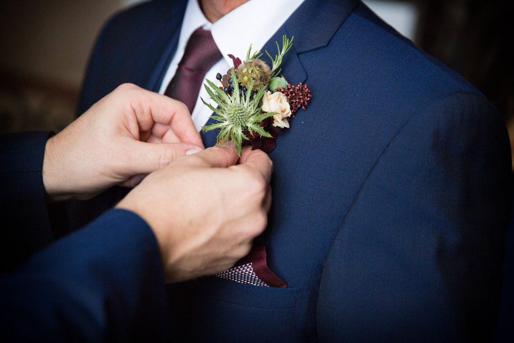 Groom's autumnal buttonhole