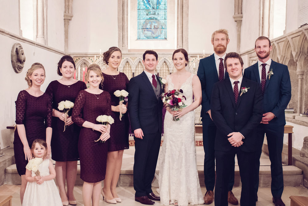Winter wedding in plum colors