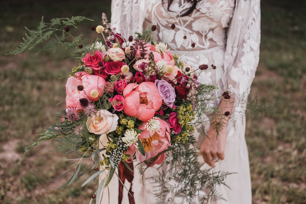 Wild, romantic bridal bouquet at Lila's Wood, hertfordshire