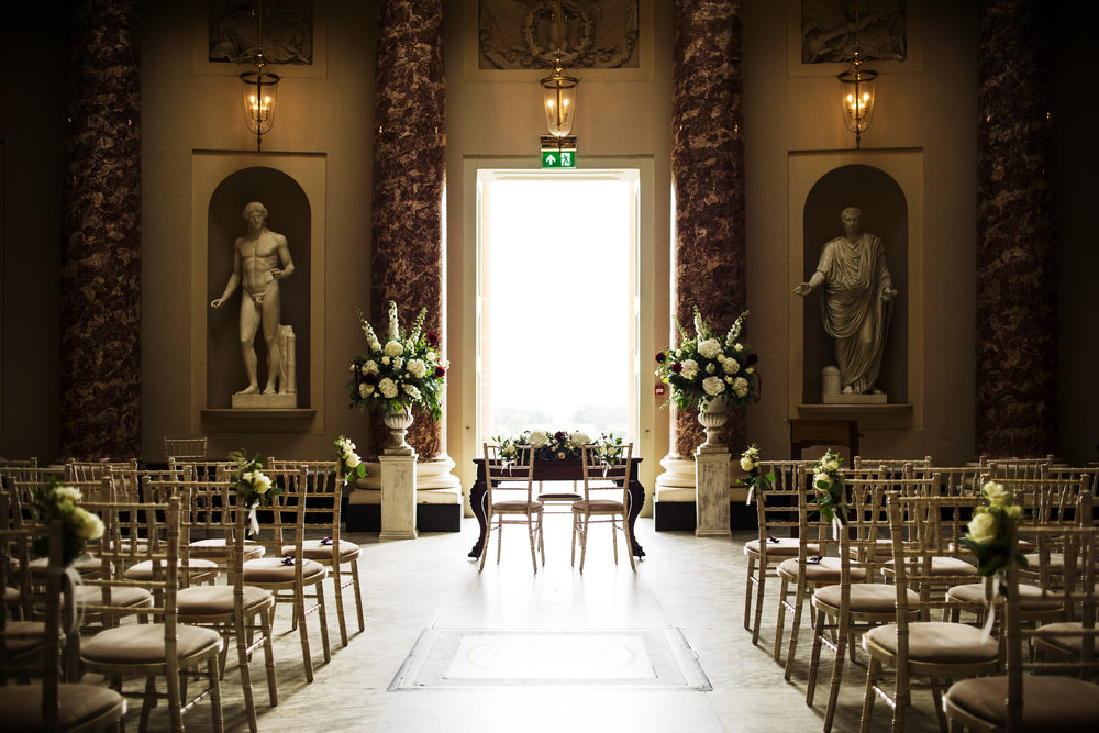 Autumn Wedding in the Marble Hall, Stowe House, Buckinghamshire