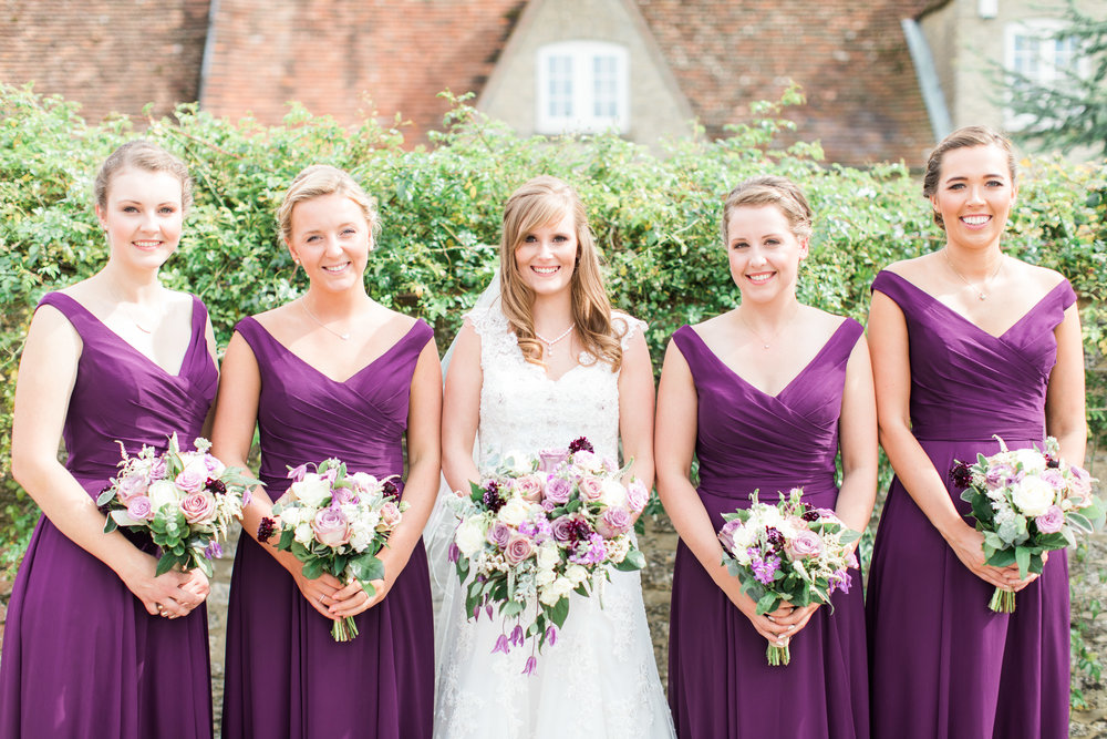 Lilac, cream and plum wedding flowers