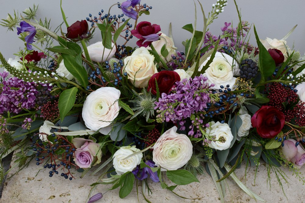 Plum, lilac and blush winter wedding flowers