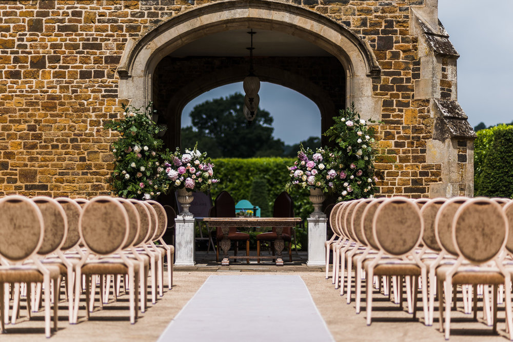 Outdoor wedding ceremony, Fawsley Hall, Northamptonshire