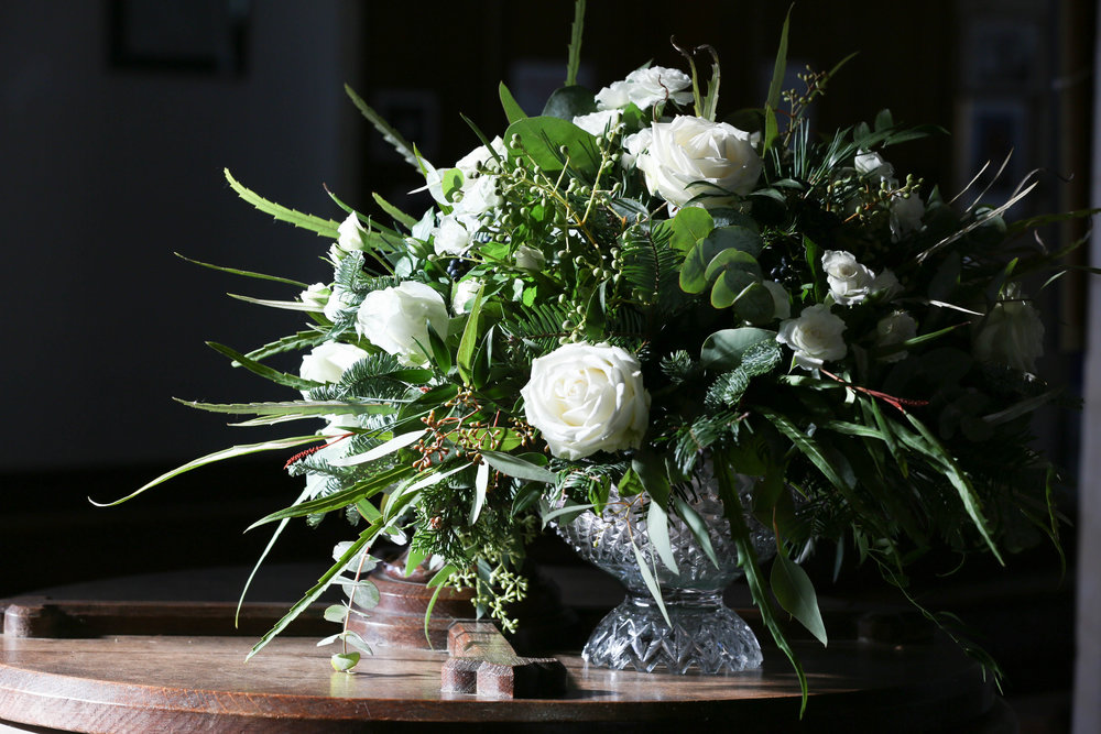 All white christmas floral display