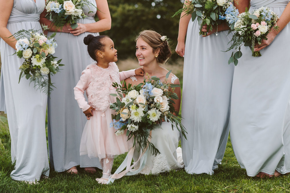 summer bridal flowers in soft blush and pale blue