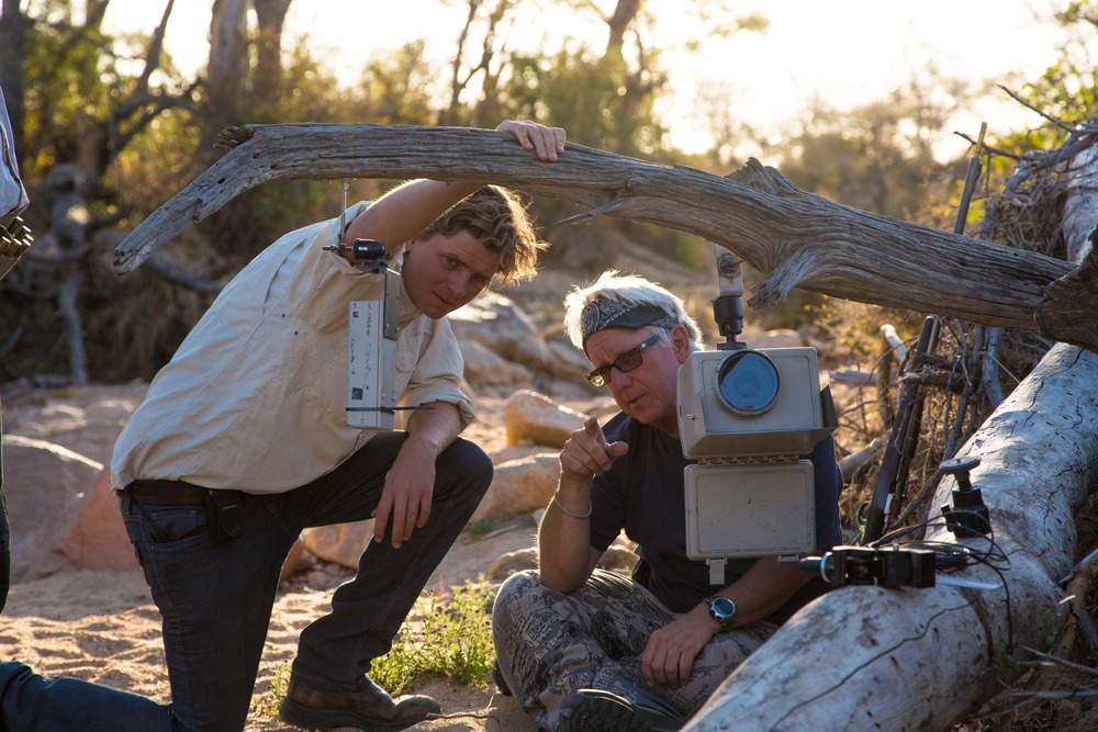 Steve Winter has mentored me in the art of camera-trapping for over a year. Here I help him set a camera in the Timbavati Game Reserve. Photo Credit: Bertie Gregory.