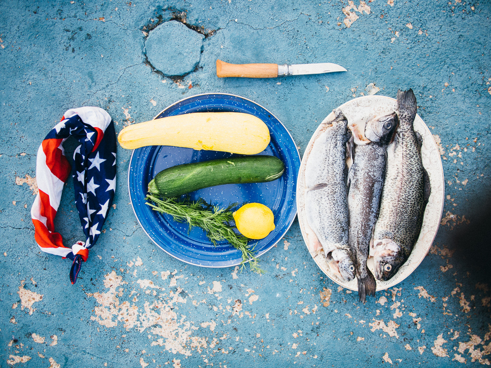 camp cookery - trout with veggies