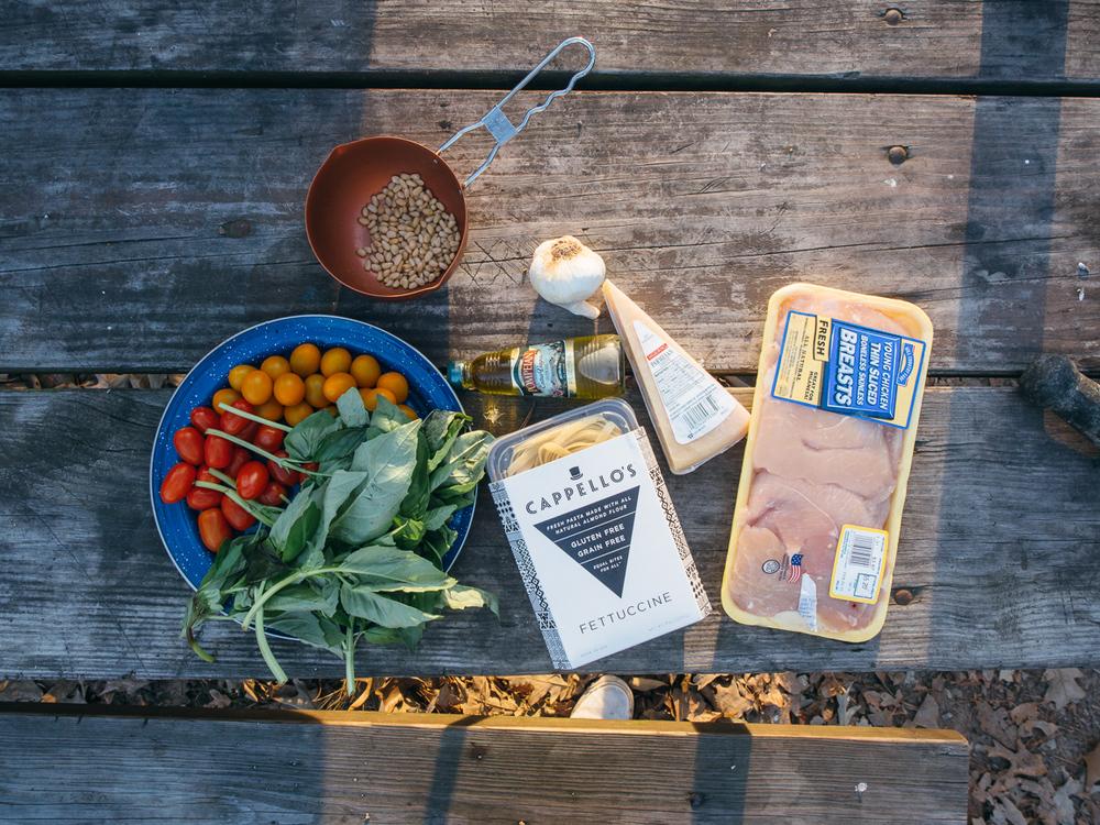 camp cookery - Pesto fettuccine