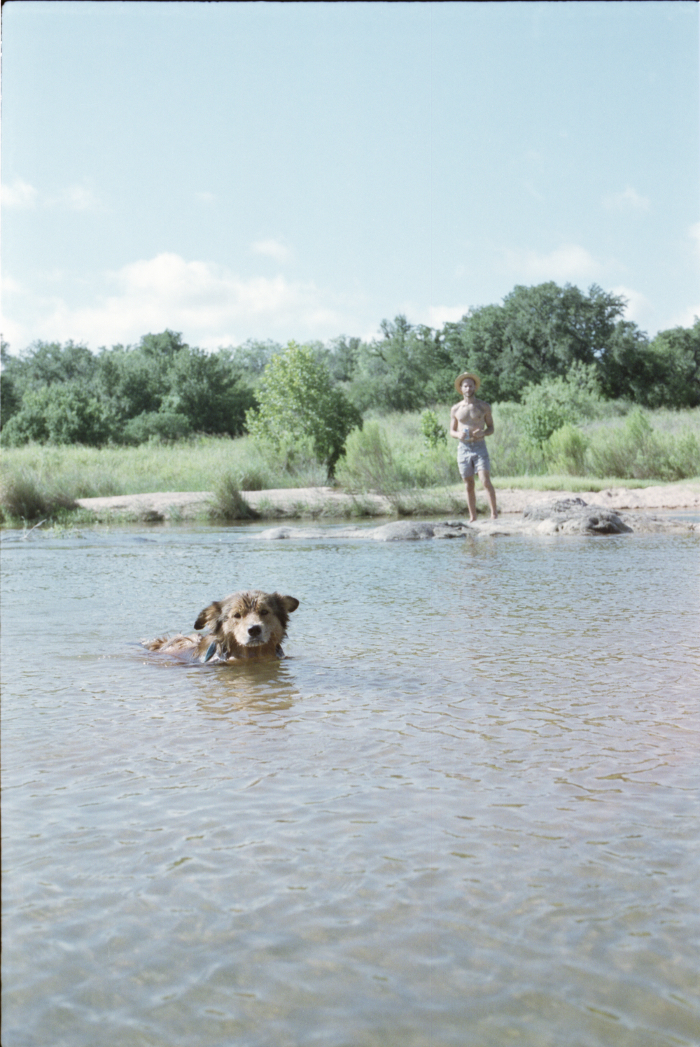 llano river texas camping swim swimming film 35mm pawlowski america yall whatley dog