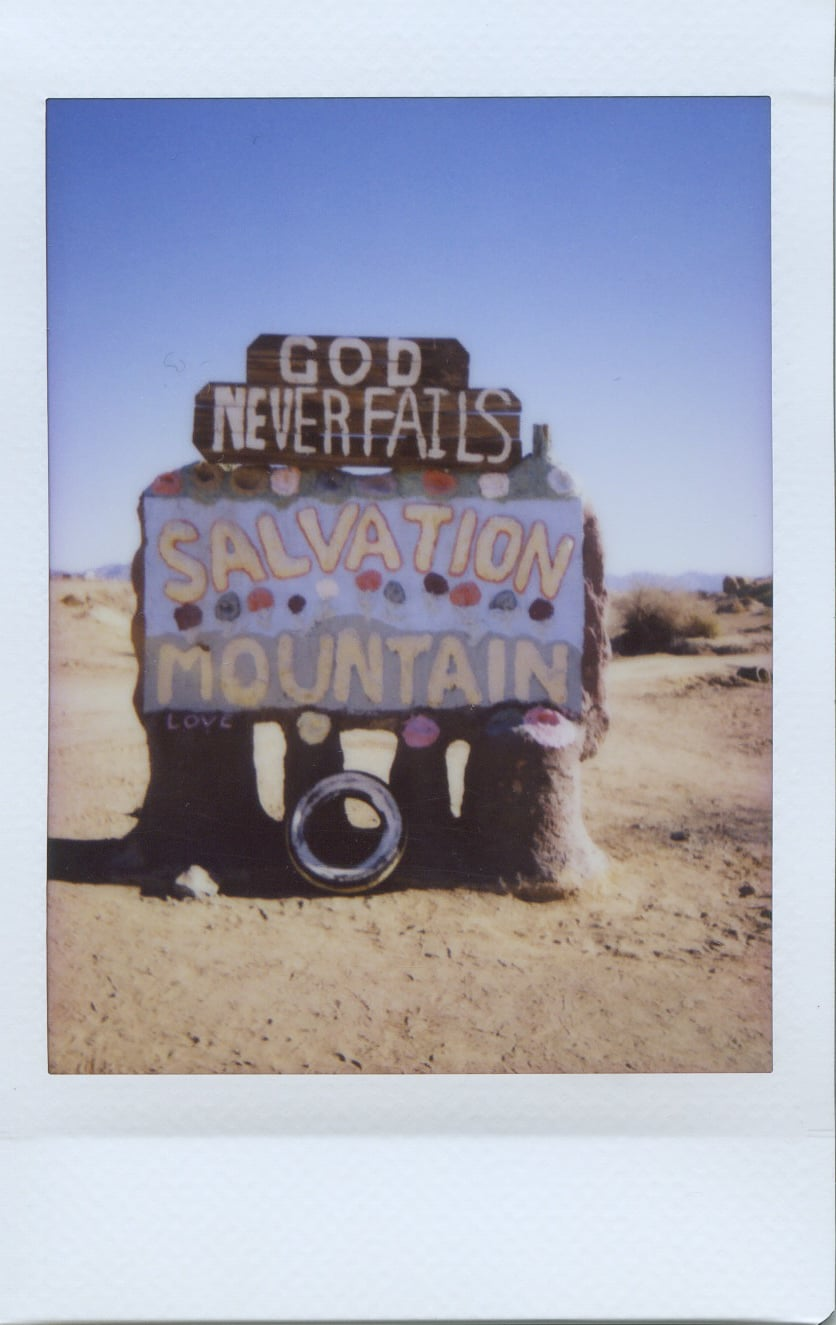 fuji instax salvation mountain california joshua tree sign