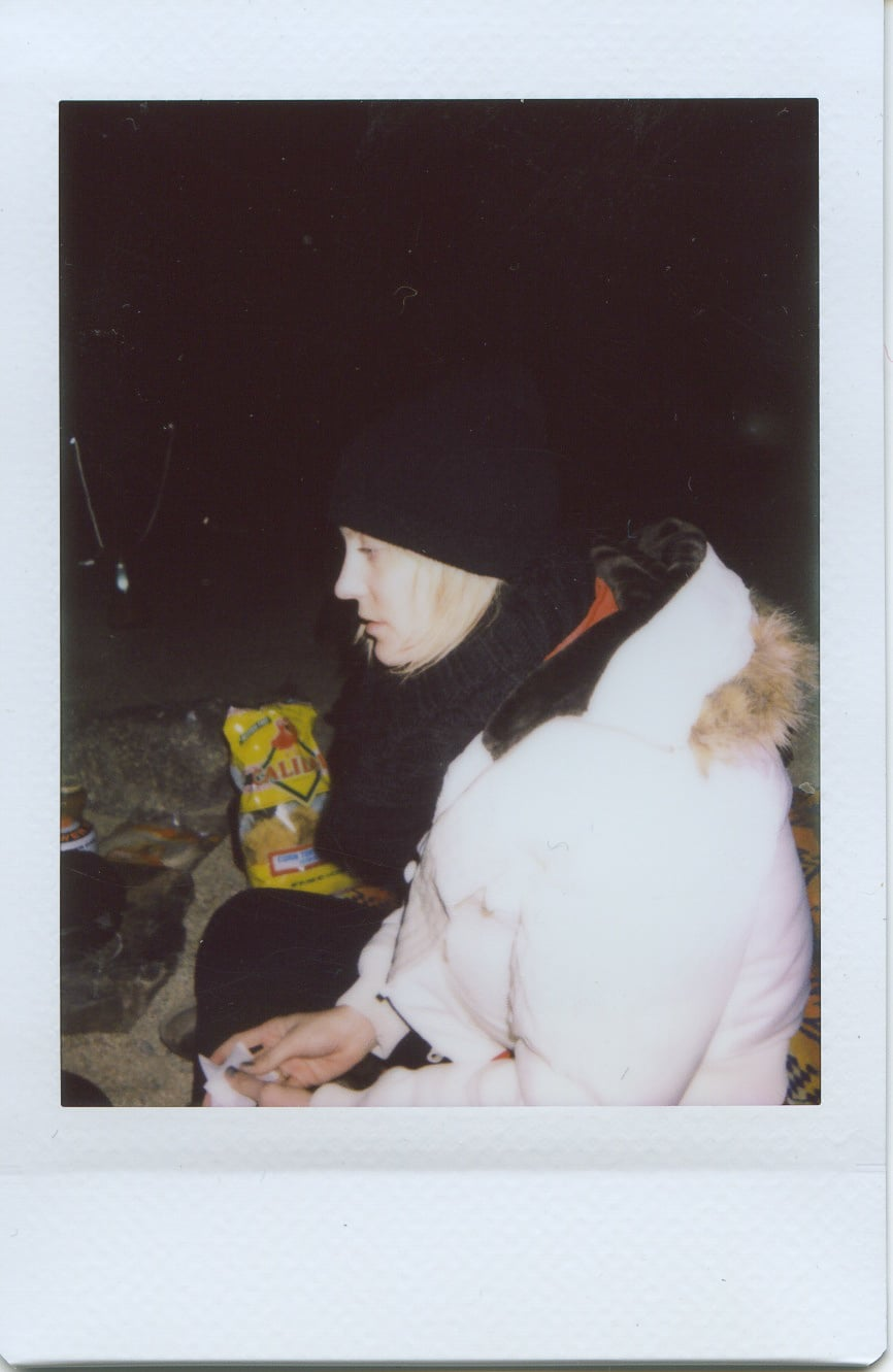 fuji instax salvation mountain california joshua tree girl