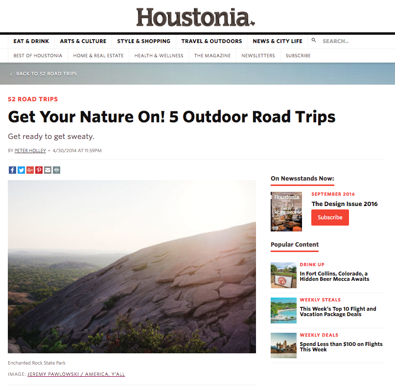 Houstonia Magazine - Print & Online - Contract photographer for images relating to Texas State Parks