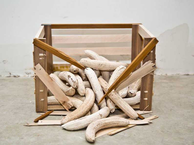 Banana crate,  2014  Plaster, wood, staples  10 x 9 x 13 in