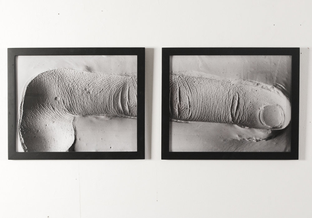 Left index finger mold , 2013  Inkjet photograph of plaster mold  51 x 20 inches (set)