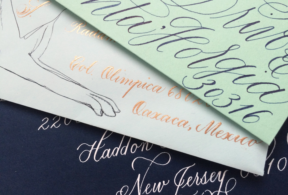 Calligraphed envelopes of the blue-green spectrum