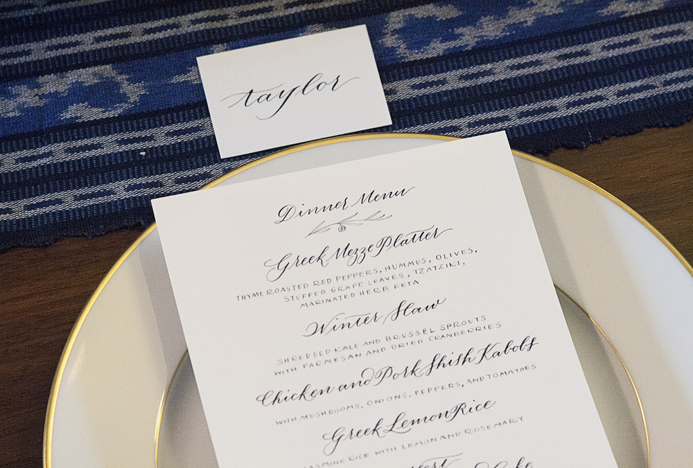 Detail of the calligraphed menu and place card for the dinner party.