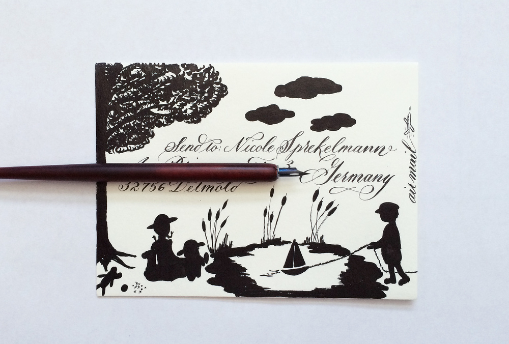 A recent pen pal letter with a silhouette design on the envelope.