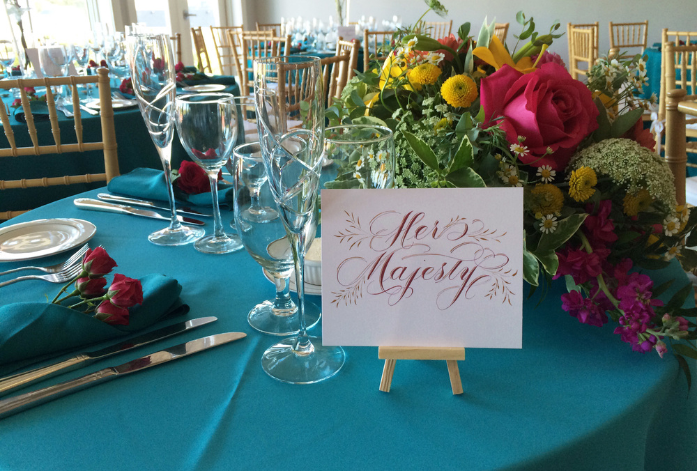 Handmade Letters - Calligraphed table card for a seaside wedding