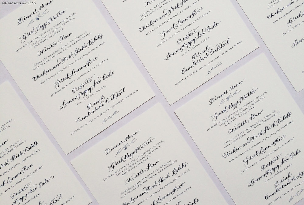 Handmade Letters - Hand-drawn menus for a Mediterranean dinner party