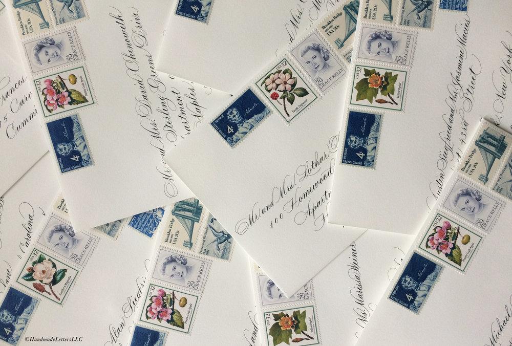 Handmade Letters - Wedding Envelopes with Vintage Stamps