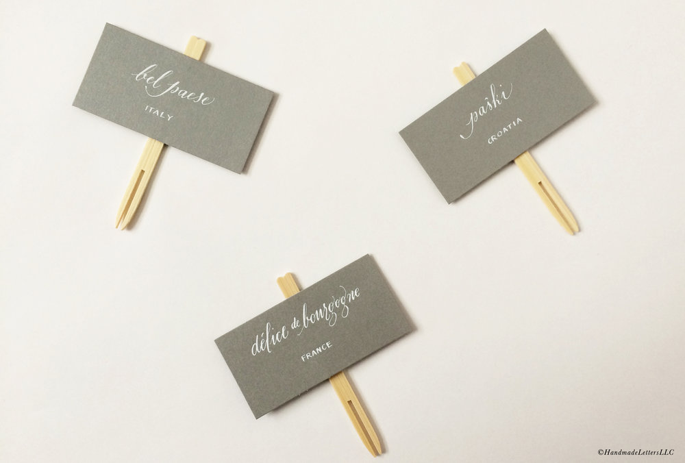 Handmade Letters - Calligraphed cheese labels for a cocktail party