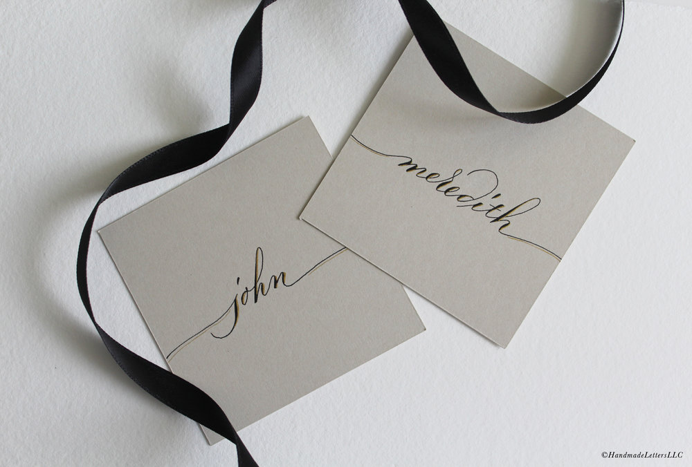 Handmade Letters - Wedding Place Cards in Modern Script