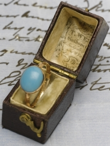 A   turquoise and gold ring which once belonged to Jane Austen    Sold by Sothebys
