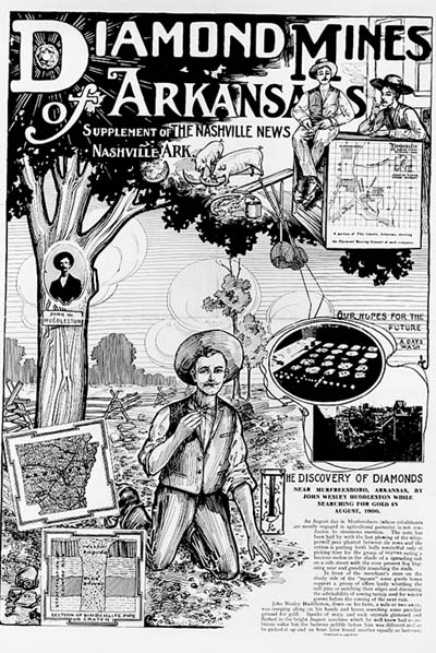 A supplement to the Nashville News of nearby Nashville, Arkansas, advertising diamonds mining in the early 1900s