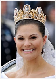 Princess Victoria of Sweden in the Cameo Tiara during her 2010 wedding