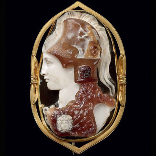 A Roman sardonyx cameo of Minerva from the Julio-Claudian period circa 1st century AD. Sold by Christie's.