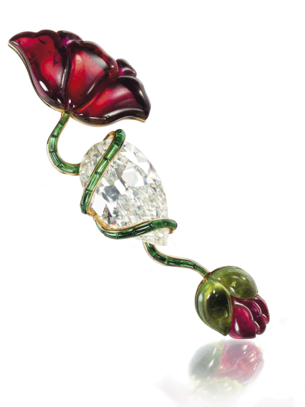 The Lily Safra poppy flower brooch with diamond and tourmalines sold for $1,273,320 at Christie's Geneva, 5/14/2012. - © Christie's Images/The Bridgeman Art Library