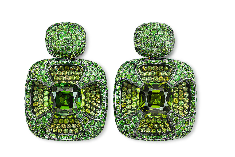 Hemmerle Earrings, tourmalines, demantoids, silver, white gold courtesy of Hemmerle