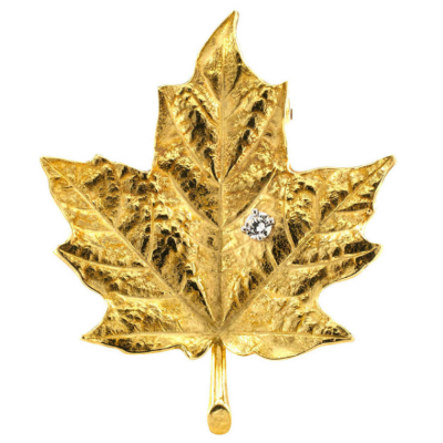 Tiffany & Co. Diamond Gold Maple Leaf Brooch OFFERED BY JACOB'S DIAMOND & ESTATE JEWELRY