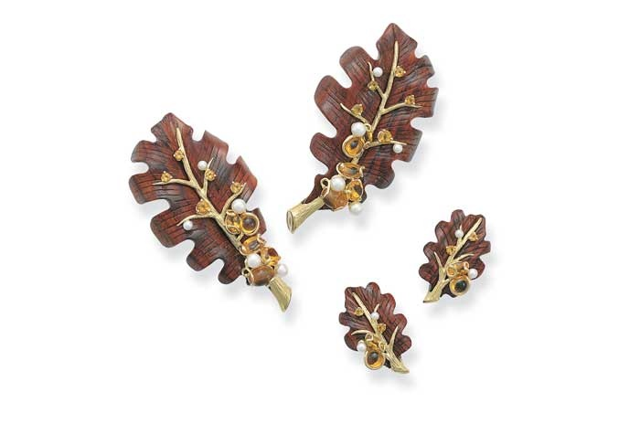 Rosewood with Citrine and Pearl Leaf Brooches and Earrings By Seaman Schepps