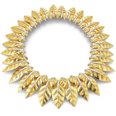 David Webb Laurel Leaf Necklace Diamonds, platinum, and textured gold
