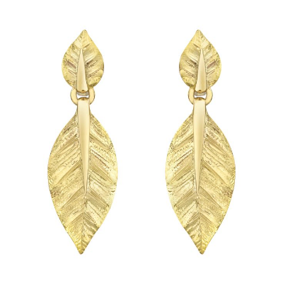 David Webb 18k Gold Double Leaf Drop Earclips Available from Betteridge