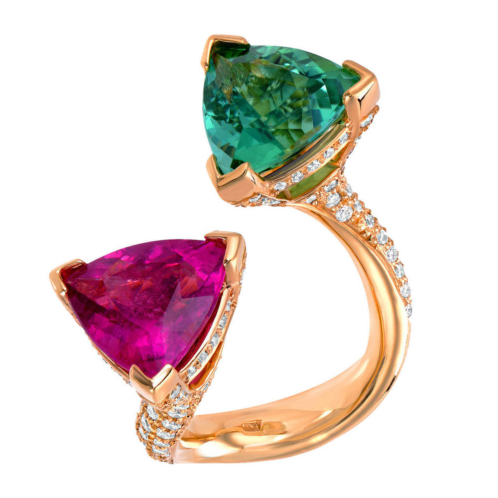 A Breathtaking Mint Green Tourmaline And Pink Tourmaline Twin Ring OFFERED BY  TAMIR