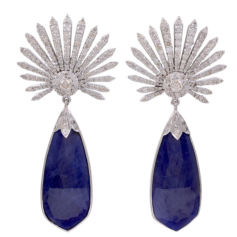 Diamond Sunburst and Tanzanite Earrings Offered by  Jeri Cohen Fine Jewelry