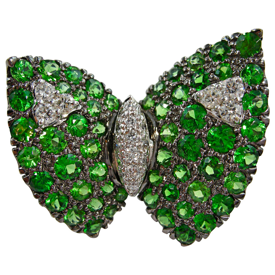 Jona Tsavorite Diamond Gold Butterfly Pin Brooch offered by  Jona