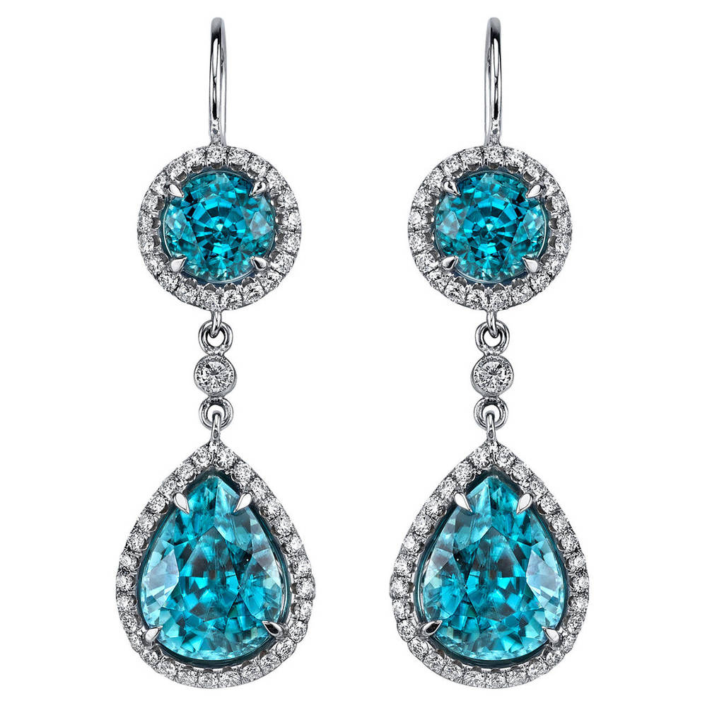 Zircon Diamond Gold Dangle Earrings, OFFERED BY SIXTH AVENUE FINE JEWELERS
