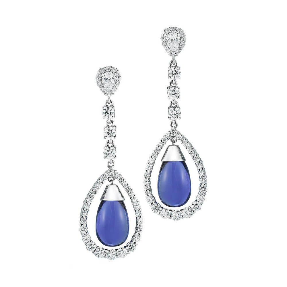 Dangling Tanzanite Tear Drop Diamond Gold Earrings, OFFERED BY  TAKAT