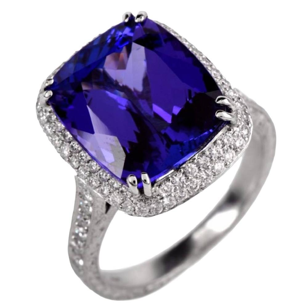 Beaudry Diamond Tanzanite Platinum Enagement Ring, OFFERED BY  DOVER JEWELRY