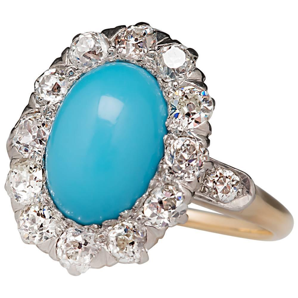 Late Victorian Era Turquoise Old Diamond Halo Ring, OFFERED BY ERAGEM