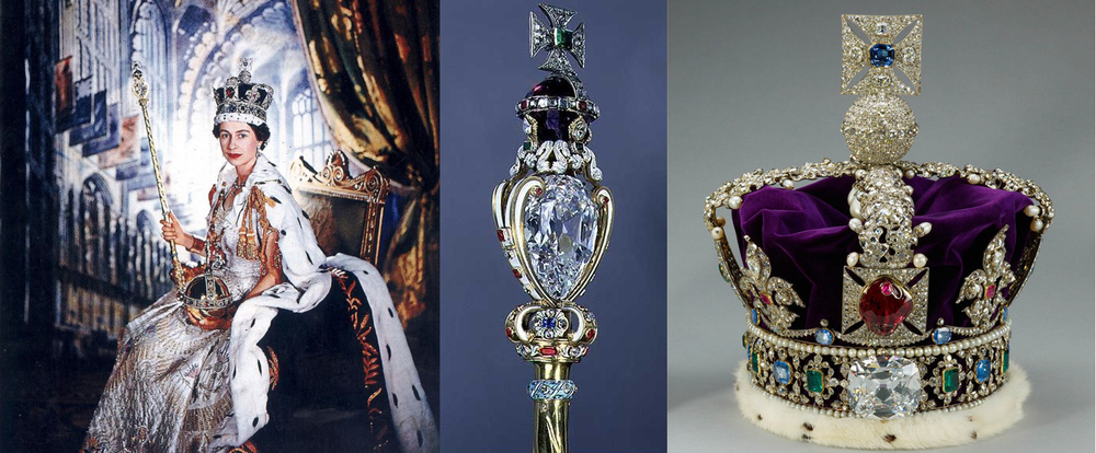 Left to Right: Queen Elizabeth II at her coronation with the scepter and crown containing the Cullinan I & II, Cullinan I in the scepter, Cullinan II in the crown
