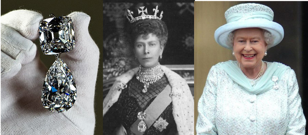 "Left to Right: Cullinan III & IV in the brooch setting, Queen Mary, Queen Elizabeth II wearing ""Granny's Chips"" at her Diamond Jubilee Celebration"