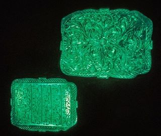 The Mogul Mughal Emerald, one of the largest emeralds in the world weighing 217.80 carats and stands at 10 cm high.