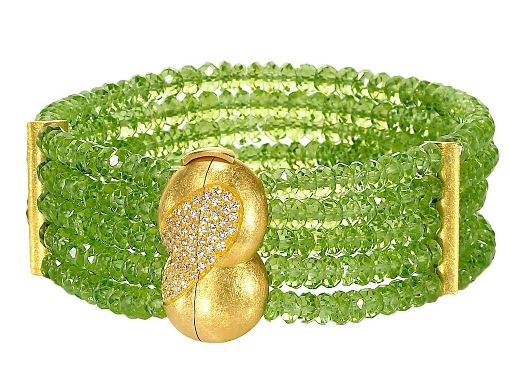 Peridot, Diamond and Gold Five Strand Bracelet handcrafted by German jewelry artist Eva Steinberg. Available from  Szor Collections