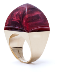 "Hand-carved vintage bakelite ""sugarloaf"" ring mounted in 18 karat gold."